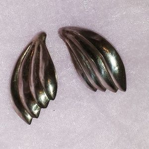 Large Hollow Abstract Wing Sterling Earrings